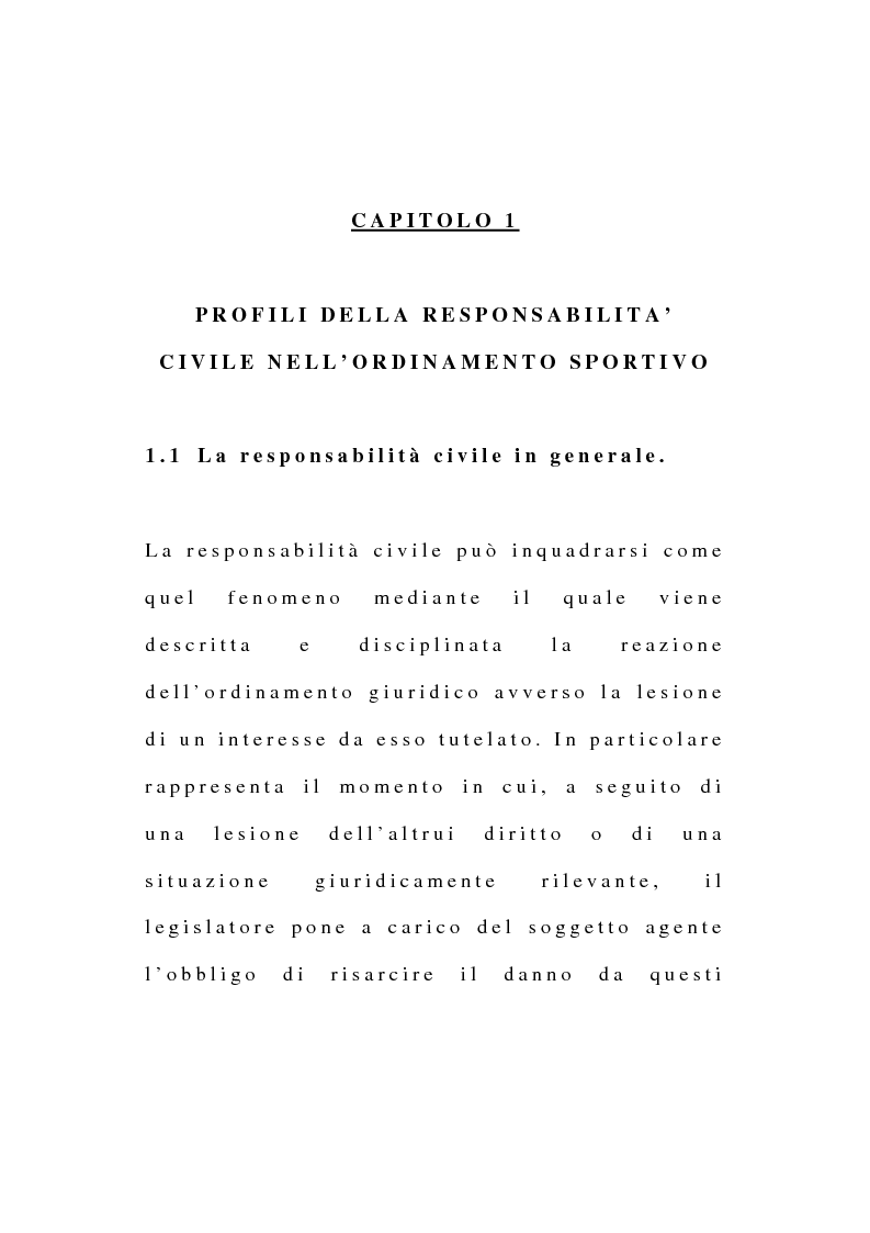 Anteprima della tesi: La responsabilità civile dell'atleta derivante dall'esercizio dell'attività sportiva, Pagina 1