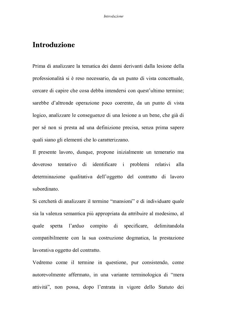 Anteprima della tesi: Il danno da lesione della professionalità, Pagina 1