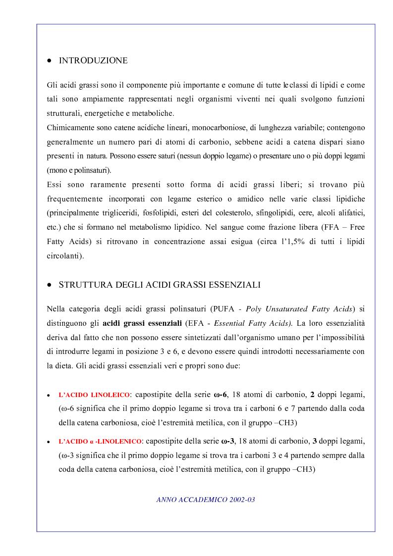 Anteprima della tesi: Ruolo degli acidi grassi essenziali ω 6 / ω 3 nella dieta, Pagina 1