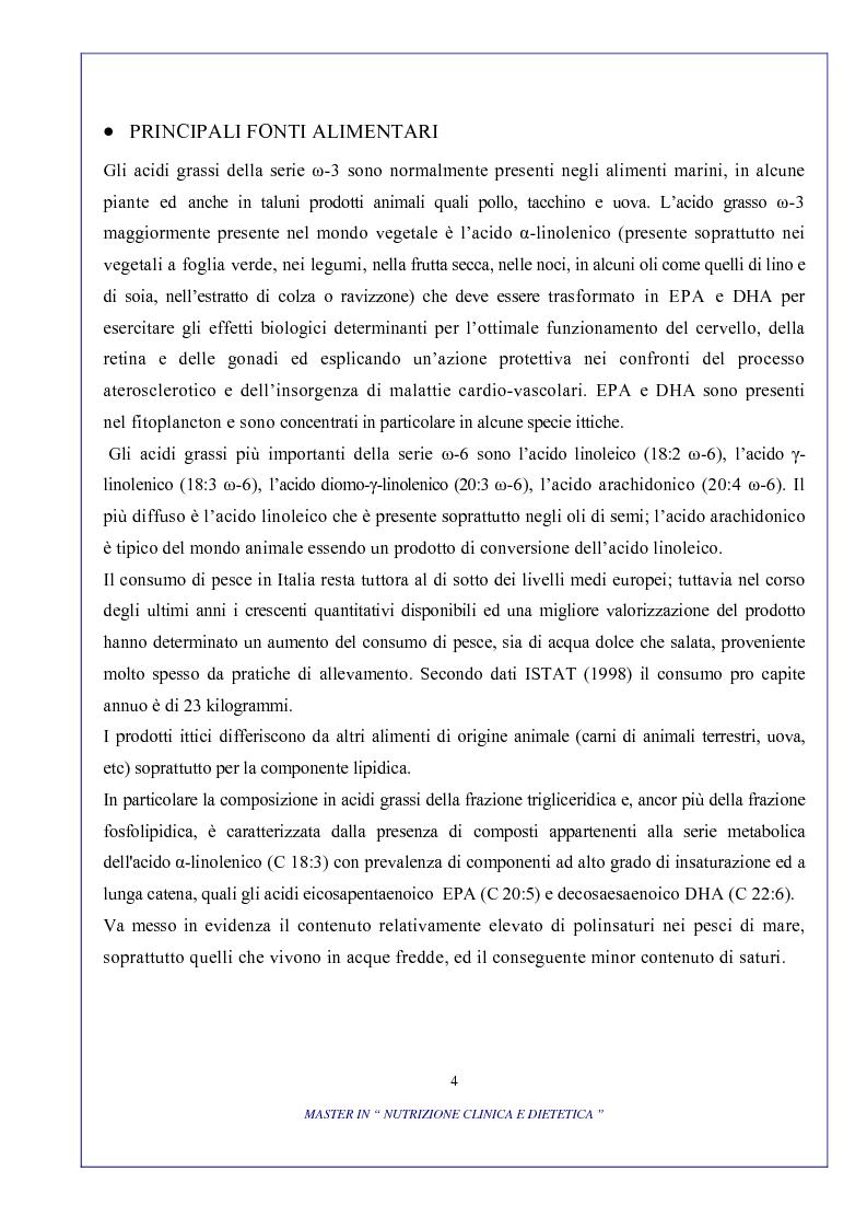 Anteprima della tesi: Ruolo degli acidi grassi essenziali ω 6 / ω 3 nella dieta, Pagina 4
