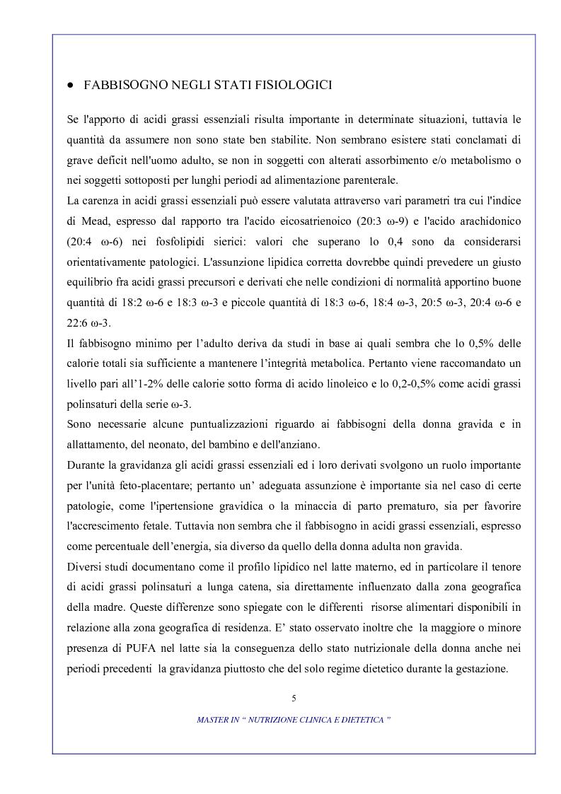 Anteprima della tesi: Ruolo degli acidi grassi essenziali ω 6 / ω 3 nella dieta, Pagina 5