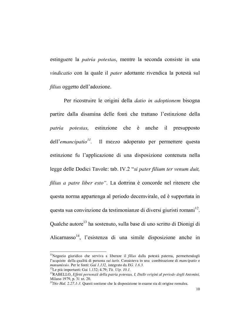 Anteprima della tesi: La datio in adoptionem, Pagina 8