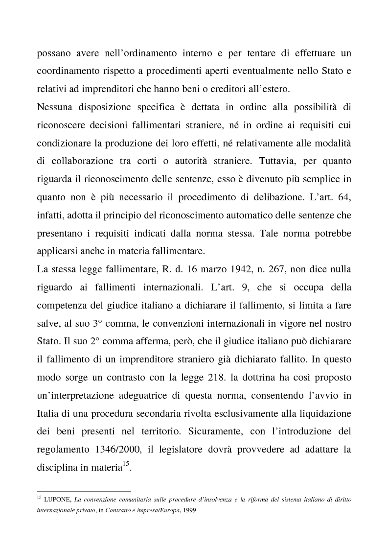 Anteprima della tesi: Il regolamento comunitario 1346/2000 relativo alle procedure d'insolvenza, Pagina 11