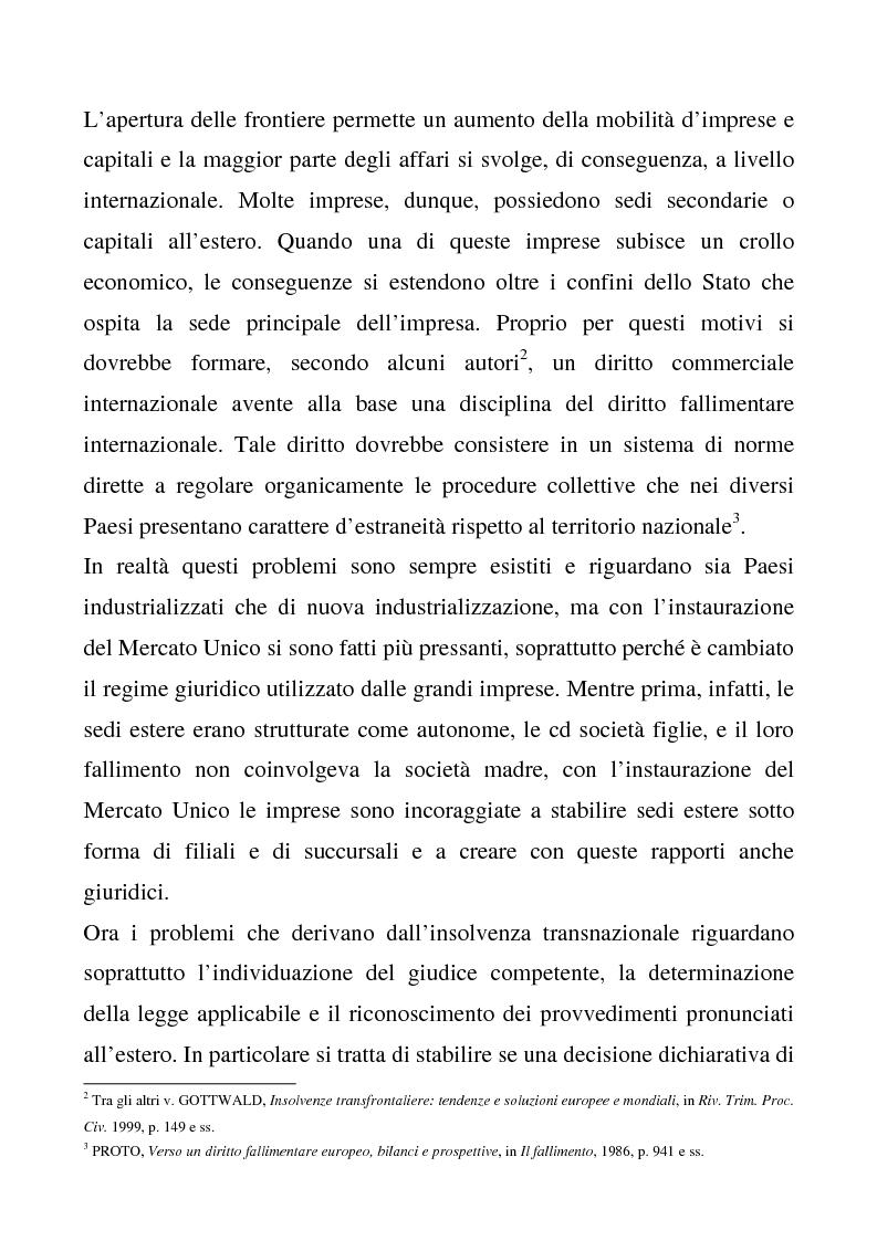 Anteprima della tesi: Il regolamento comunitario 1346/2000 relativo alle procedure d'insolvenza, Pagina 2