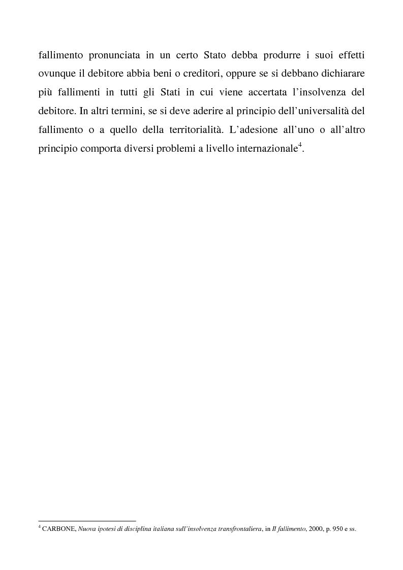 Anteprima della tesi: Il regolamento comunitario 1346/2000 relativo alle procedure d'insolvenza, Pagina 3