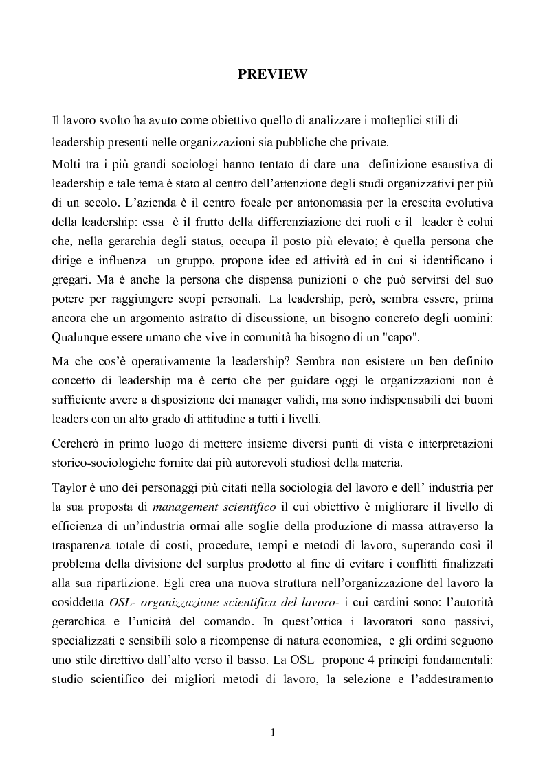 Anteprima della tesi: L'evoluzione degli stili di leadership nell'organizzazione: il caso della Termomeccanica Spa, Pagina 1
