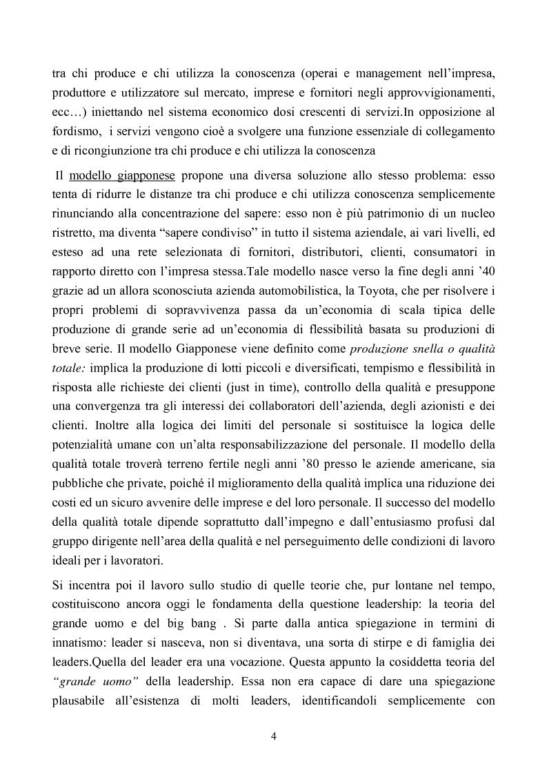 Anteprima della tesi: L'evoluzione degli stili di leadership nell'organizzazione: il caso della Termomeccanica Spa, Pagina 4