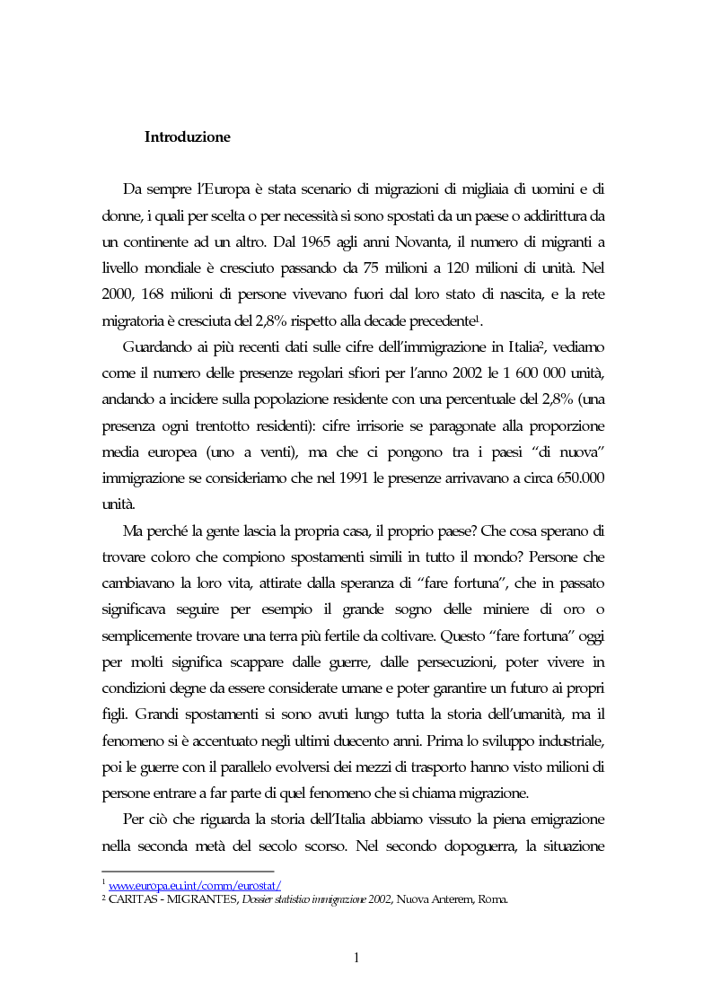 Anteprima della tesi: Piccoli immigrati in Europa. Confronto tra le strategie di inserimento scolastico, Pagina 1