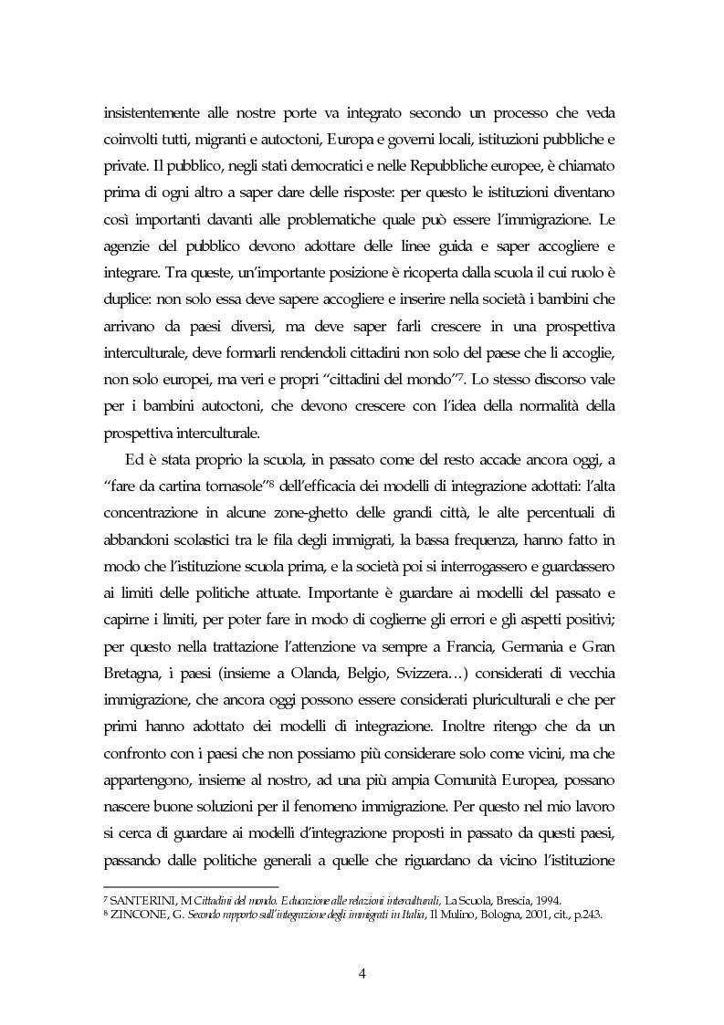 Anteprima della tesi: Piccoli immigrati in Europa. Confronto tra le strategie di inserimento scolastico, Pagina 4