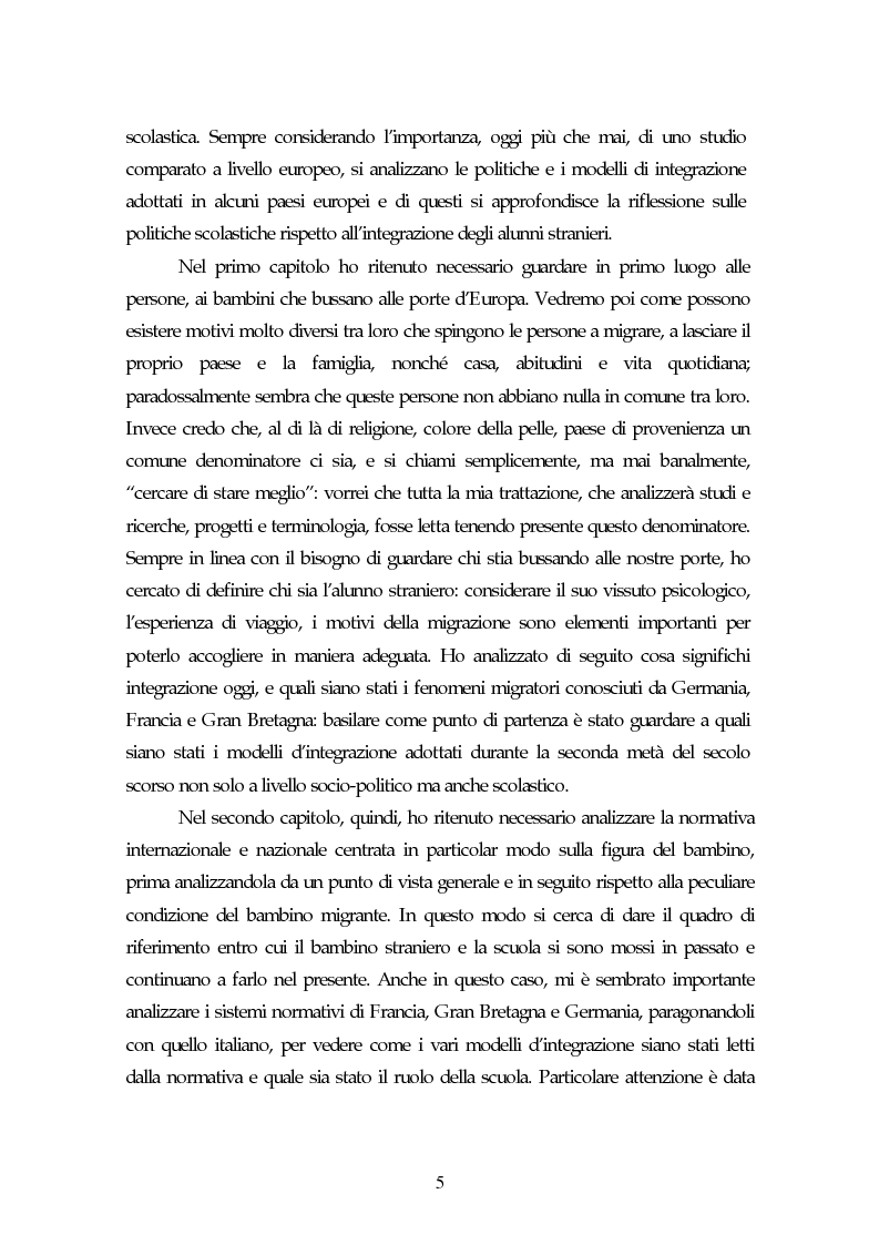 Anteprima della tesi: Piccoli immigrati in Europa. Confronto tra le strategie di inserimento scolastico, Pagina 5
