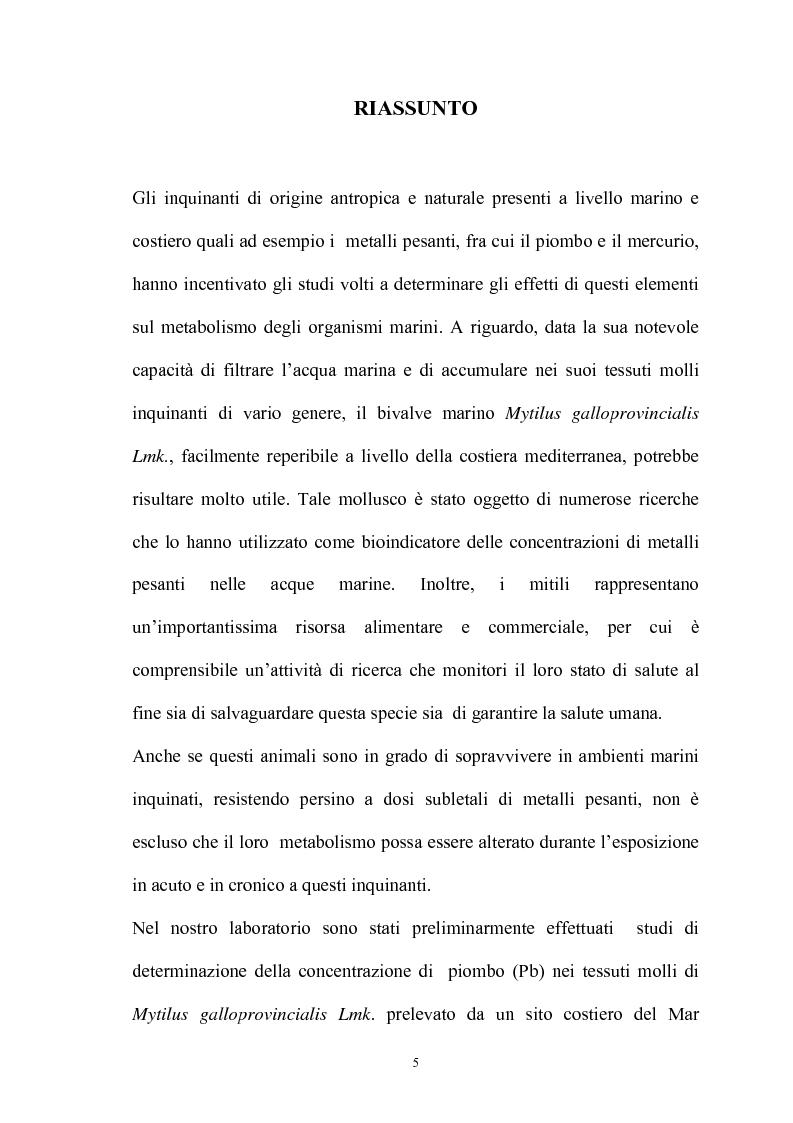 Anteprima della tesi: Effetto in vitro dei metalli pesanti piombo e mercurio sull'attività dell'enzima fosfolipasi C nelle branchie e nel mantello del mollusco marino Mytilus galloprovincialis Lmk, Pagina 5