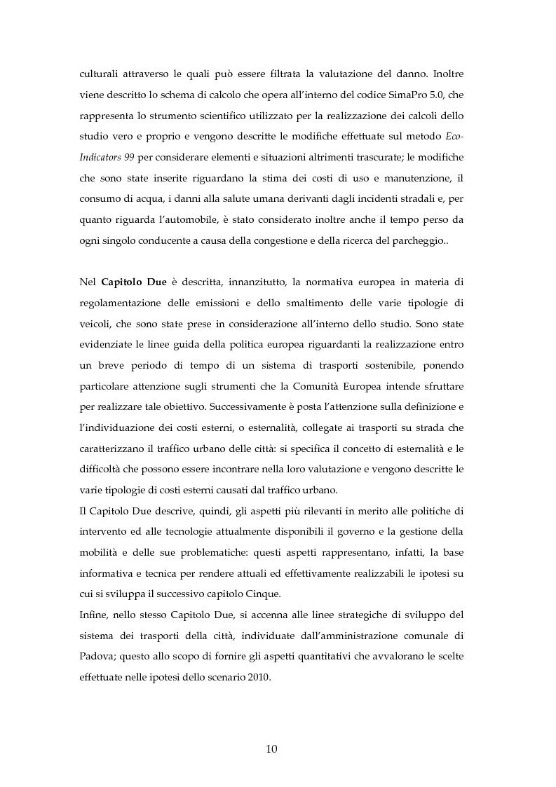 Anteprima della tesi: Analisi mediante LCA e valutazione economica dei trasporti nella città di Padova, Pagina 3