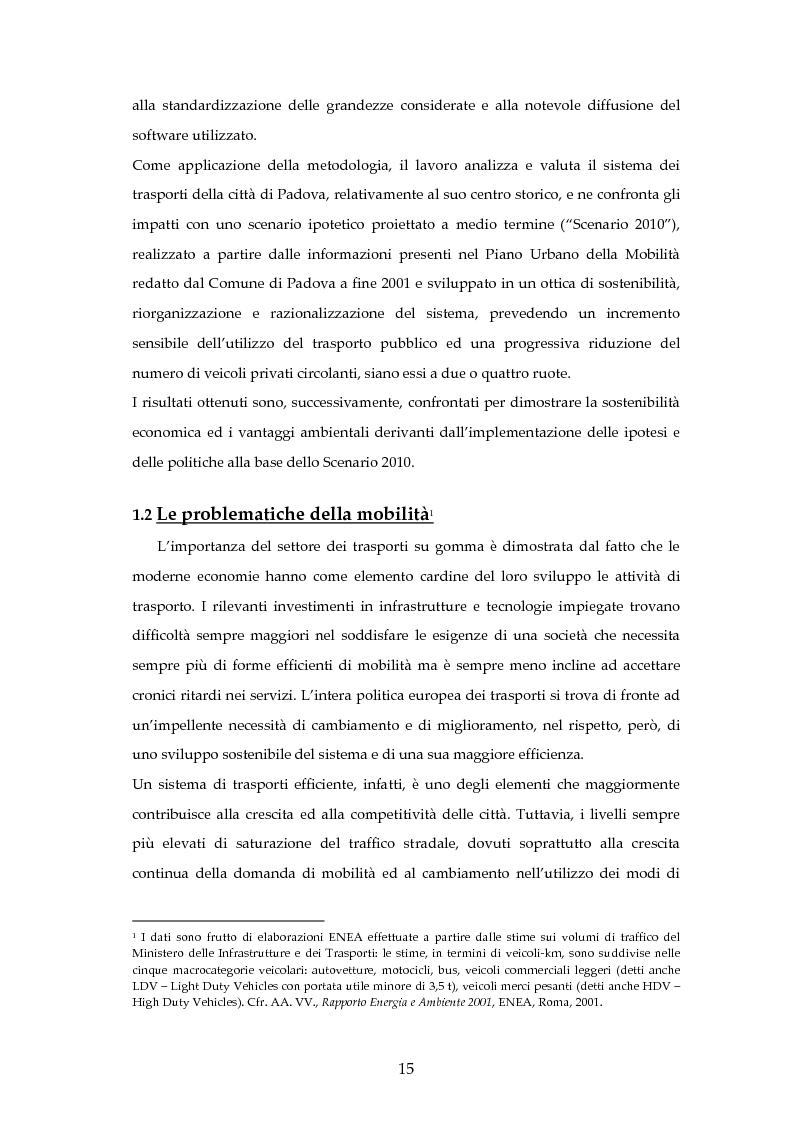Anteprima della tesi: Analisi mediante LCA e valutazione economica dei trasporti nella città di Padova, Pagina 8