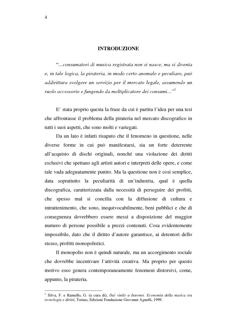 Anteprima della tesi: Effetti della pirateria nel mercato discografico, Pagina 1