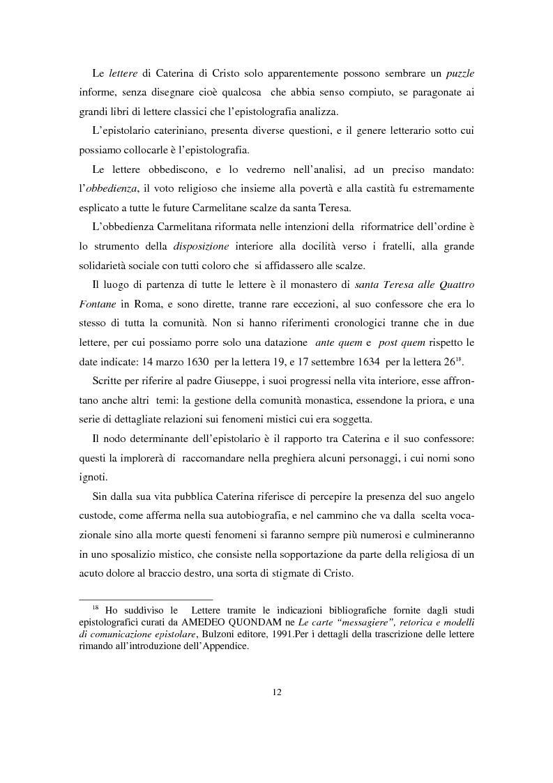 Anteprima della tesi: L'epistolario di Caterina di Cristo, Pagina 8