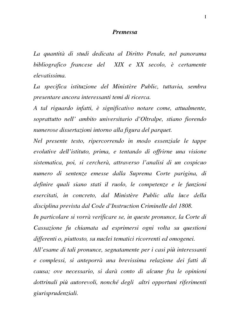 Anteprima della tesi: Il Pubblico Ministero nel diritto francese dell'Ottocento (1808-1882), Pagina 1