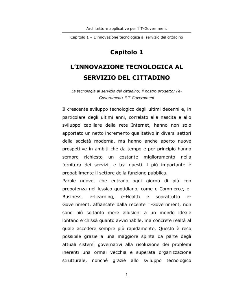 Anteprima della tesi: Architetture applicative per il T-Government, Pagina 1