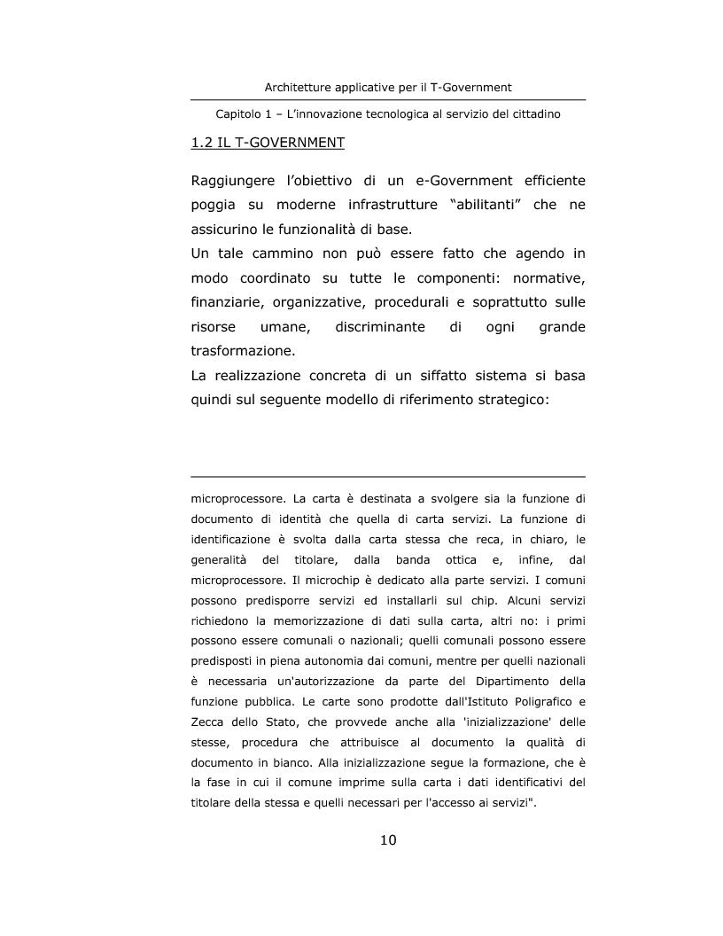 Anteprima della tesi: Architetture applicative per il T-Government, Pagina 10