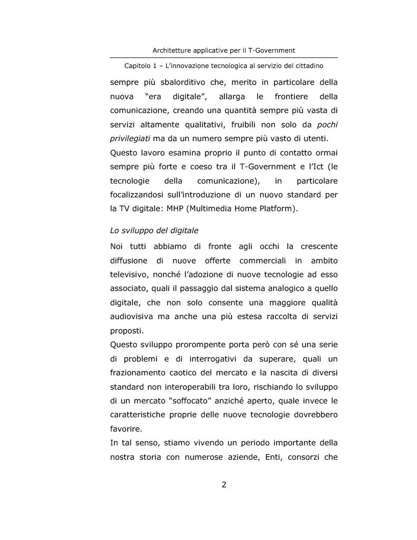 Anteprima della tesi: Architetture applicative per il T-Government, Pagina 2