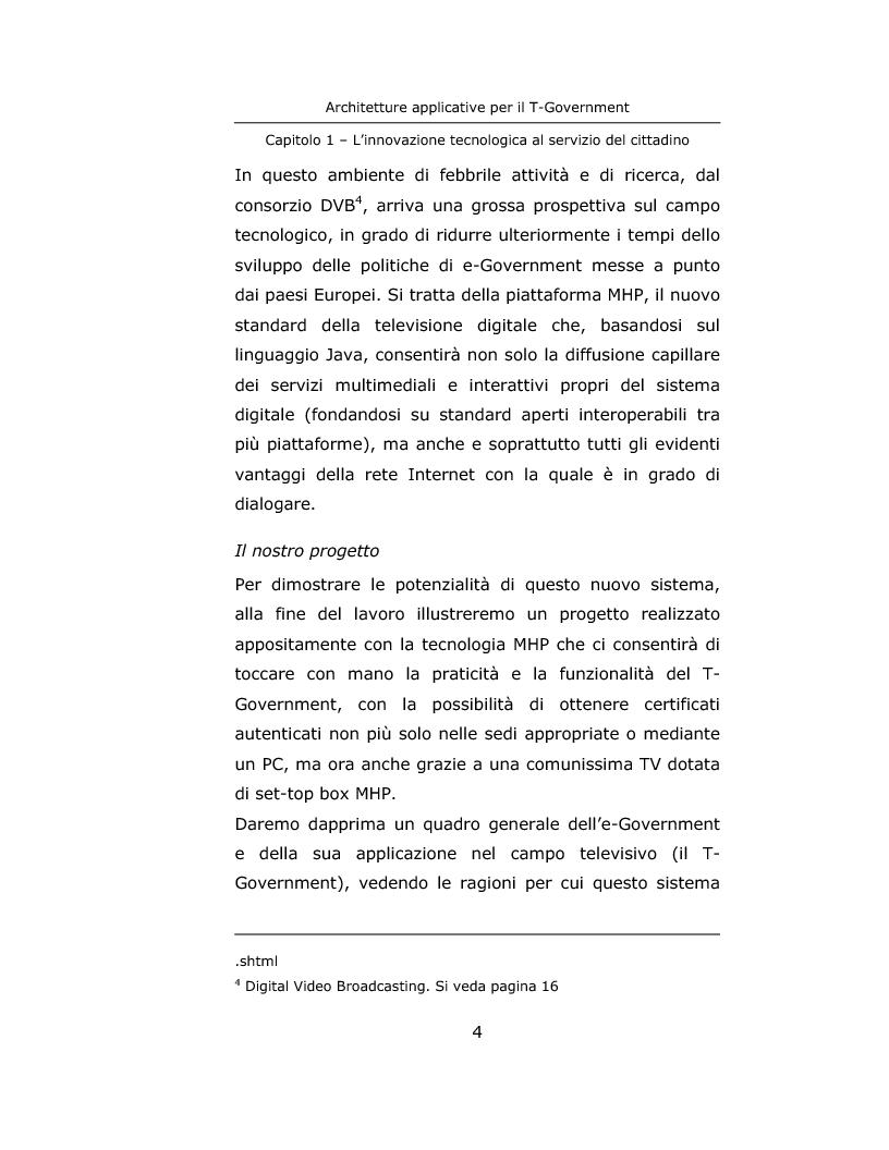 Anteprima della tesi: Architetture applicative per il T-Government, Pagina 4