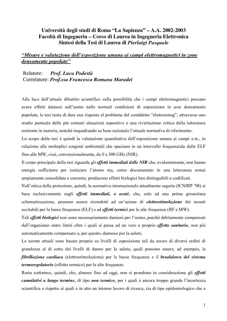 Anteprima della tesi: Misure e valutazione dell'esposizione umana ai campi elettromagnetici in zone densamente popolate, Pagina 1