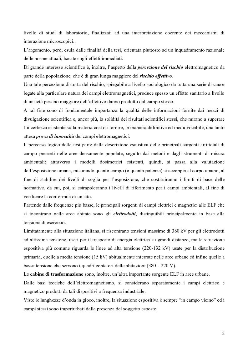 Anteprima della tesi: Misure e valutazione dell'esposizione umana ai campi elettromagnetici in zone densamente popolate, Pagina 2