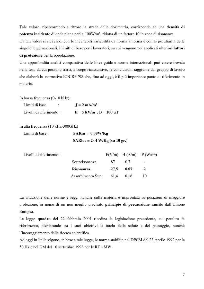 Anteprima della tesi: Misure e valutazione dell'esposizione umana ai campi elettromagnetici in zone densamente popolate, Pagina 7