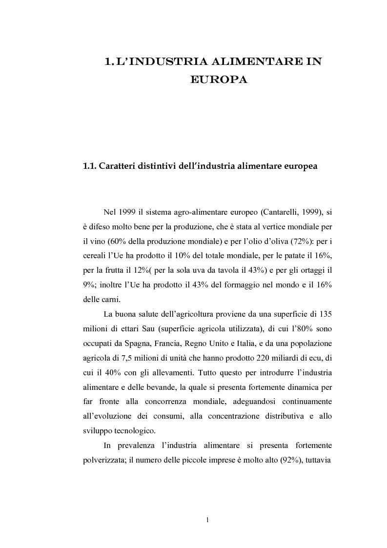 Anteprima della tesi: L'industria alimentare e il caso dei prodotti biologici, Pagina 1