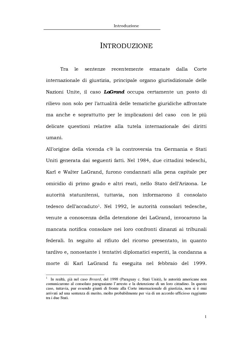 Anteprima della tesi: Il caso LaGrand e la tutela internazionale dei diritti umani, Pagina 1
