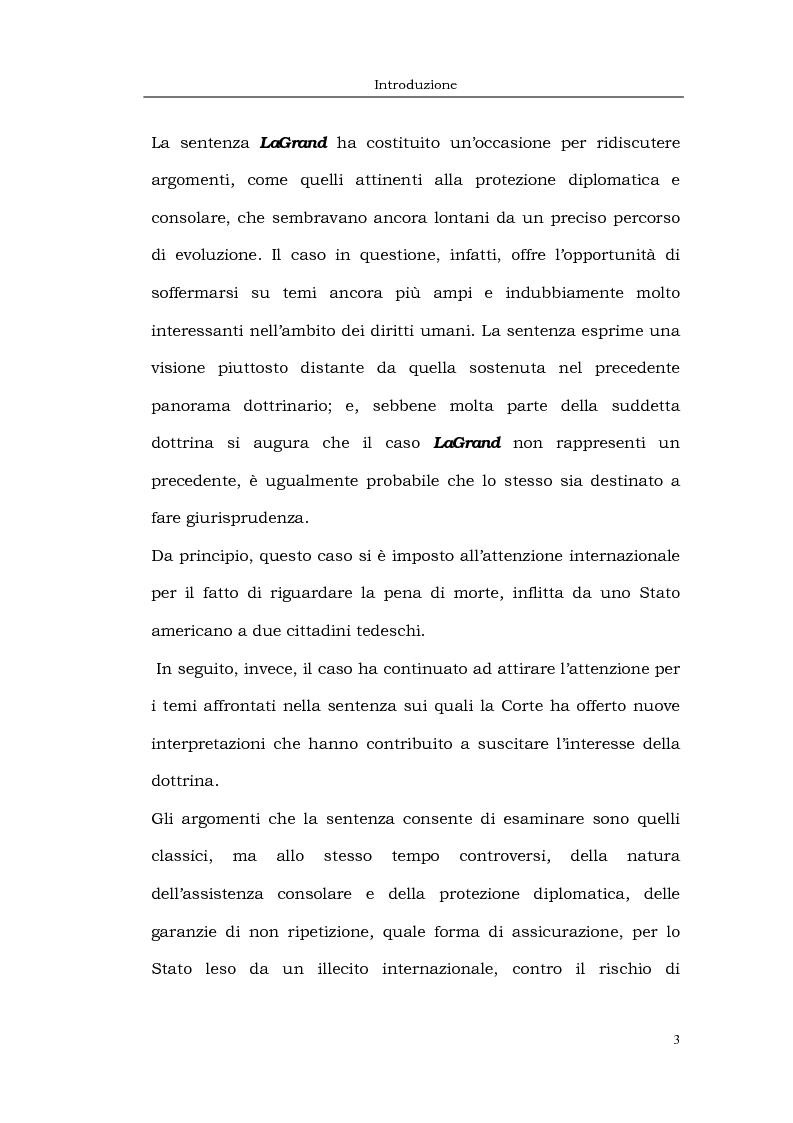 Anteprima della tesi: Il caso LaGrand e la tutela internazionale dei diritti umani, Pagina 3
