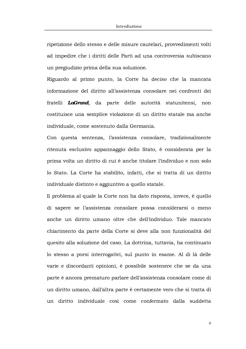 Anteprima della tesi: Il caso LaGrand e la tutela internazionale dei diritti umani, Pagina 4
