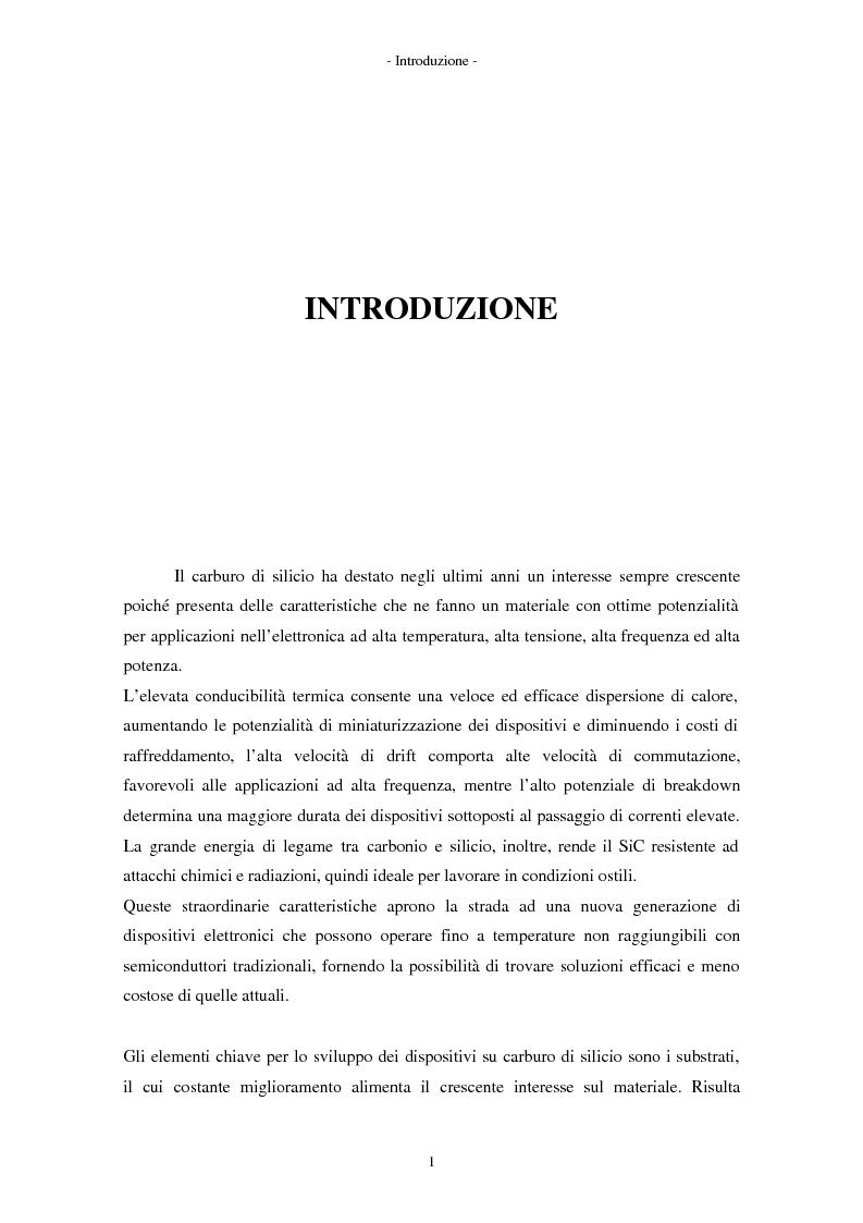 Anteprima della tesi: Analisi morfologica di difetti su carburo di silicio per applicazioni su dispositivi elettronici, Pagina 1