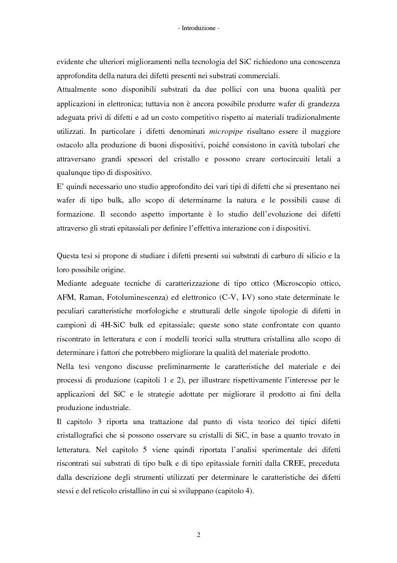 Anteprima della tesi: Analisi morfologica di difetti su carburo di silicio per applicazioni su dispositivi elettronici, Pagina 2