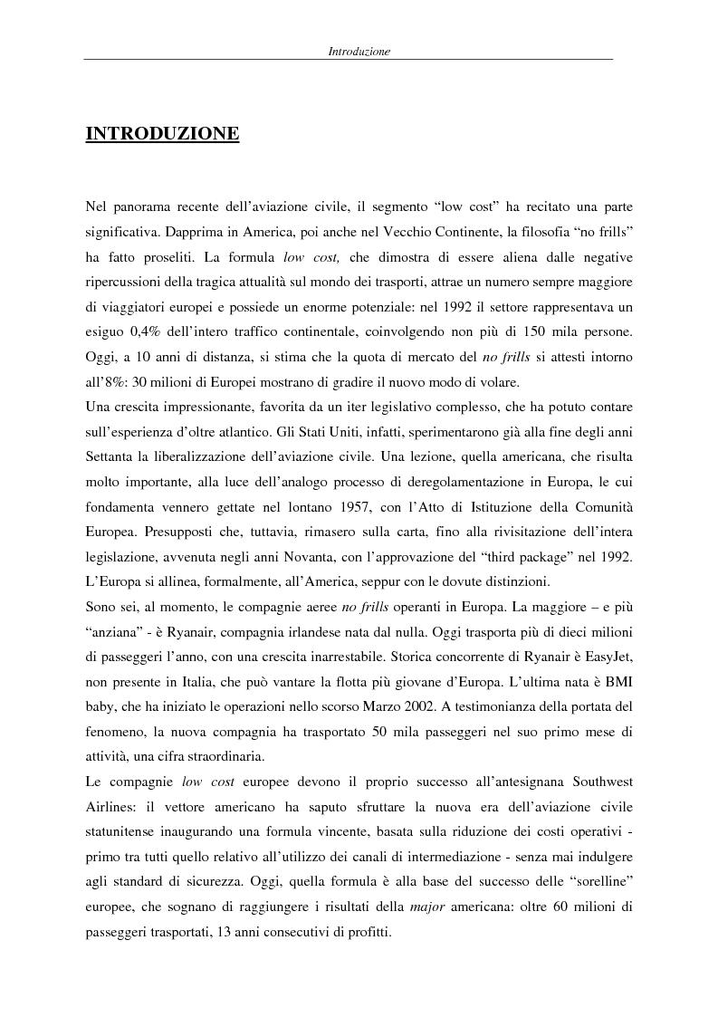 Anteprima della tesi: Il fenomeno del volo low cost in Europa: risvolti economici, sociali, turistici, Pagina 1