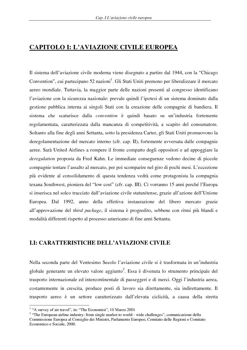 Anteprima della tesi: Il fenomeno del volo low cost in Europa: risvolti economici, sociali, turistici, Pagina 4