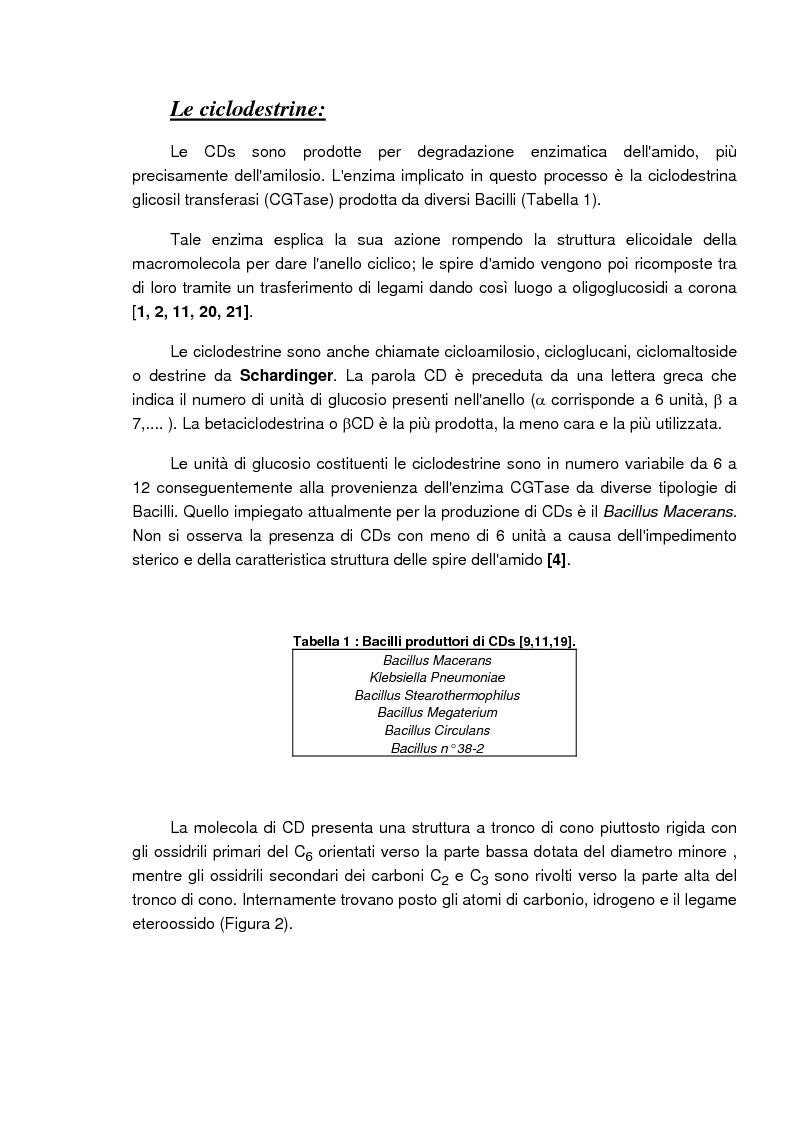Anteprima della tesi: Caratterizzazione e valutazione delle proprietà complessanti di materiali a base di ciclodestrina, Pagina 3