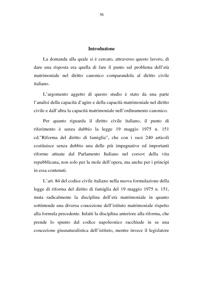 Anteprima della tesi: La capacità matrimoniale del minore in diritto canonico e nel diritto civile italiano, Pagina 1