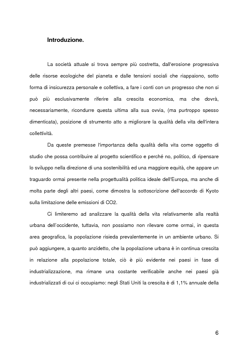 Anteprima della tesi: La qualità della vita urbana, aspetti sociologici. Analisi e metodi di valutazione, Pagina 1