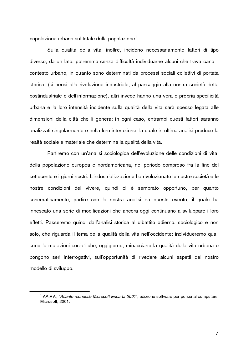 Anteprima della tesi: La qualità della vita urbana, aspetti sociologici. Analisi e metodi di valutazione, Pagina 2