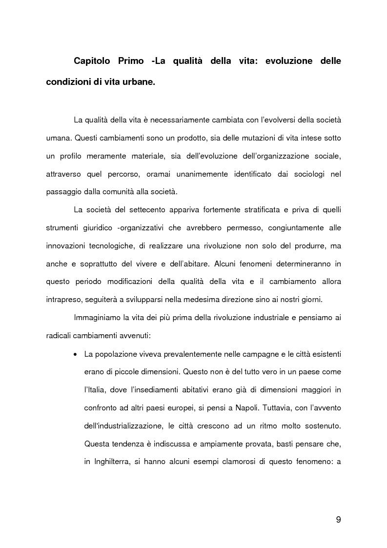 Anteprima della tesi: La qualità della vita urbana, aspetti sociologici. Analisi e metodi di valutazione, Pagina 4