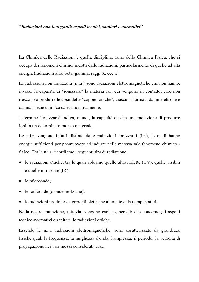 Anteprima della tesi: Radiazioni non ionizzanti: aspetti tecnici, sanitari e normativi, Pagina 1