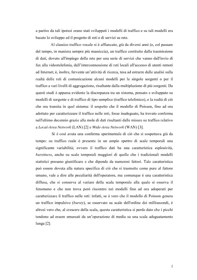Anteprima della tesi: Influenza dei meccanismi di controllo delle connessioni sulle caratteristiche autosimilari del traffico su rete, Pagina 2