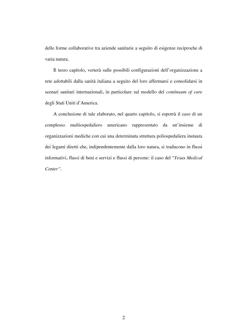 Anteprima della tesi: Le reti aziendali in sanità: il caso Texas Medical Center, Pagina 2