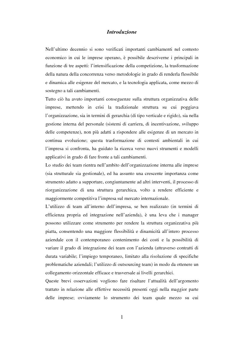 Anteprima della tesi: Un'analisi dei meccanismi di coordinamento, incentivazione, controllo nei gruppi di lavoro ed integrazione nell'organizzazione, Pagina 1