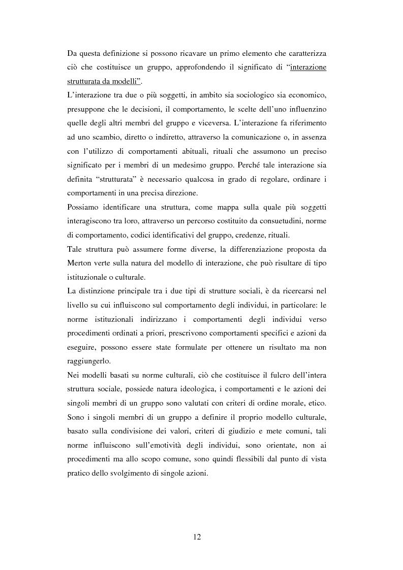 Anteprima della tesi: Un'analisi dei meccanismi di coordinamento, incentivazione, controllo nei gruppi di lavoro ed integrazione nell'organizzazione, Pagina 12