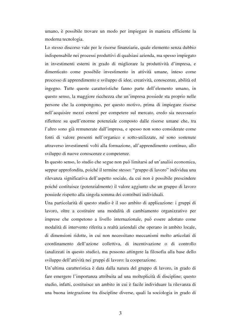 Anteprima della tesi: Un'analisi dei meccanismi di coordinamento, incentivazione, controllo nei gruppi di lavoro ed integrazione nell'organizzazione, Pagina 3