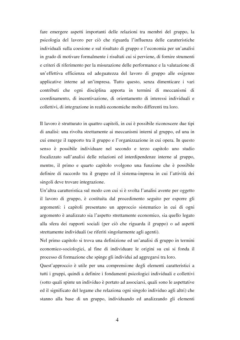Anteprima della tesi: Un'analisi dei meccanismi di coordinamento, incentivazione, controllo nei gruppi di lavoro ed integrazione nell'organizzazione, Pagina 4