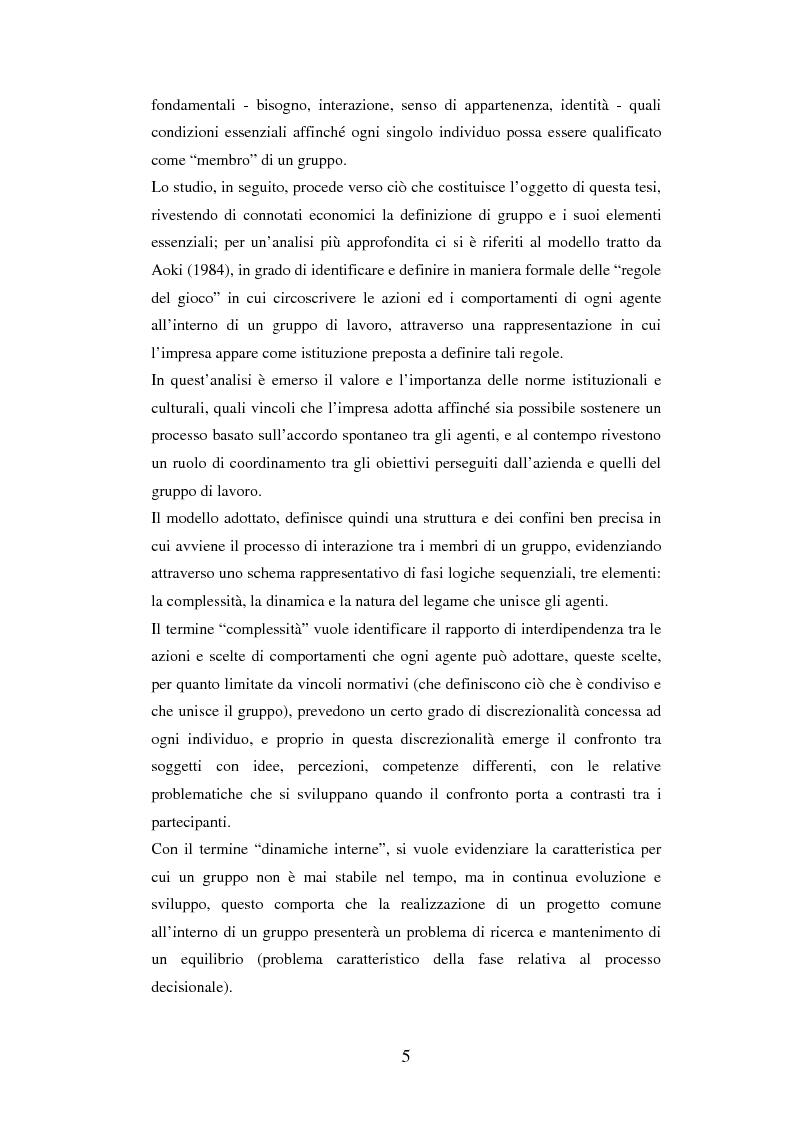 Anteprima della tesi: Un'analisi dei meccanismi di coordinamento, incentivazione, controllo nei gruppi di lavoro ed integrazione nell'organizzazione, Pagina 5