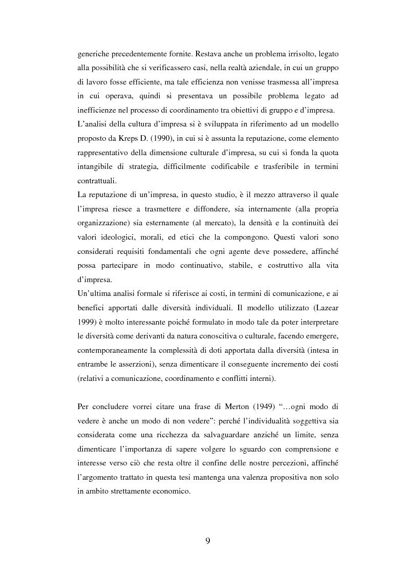 Anteprima della tesi: Un'analisi dei meccanismi di coordinamento, incentivazione, controllo nei gruppi di lavoro ed integrazione nell'organizzazione, Pagina 9