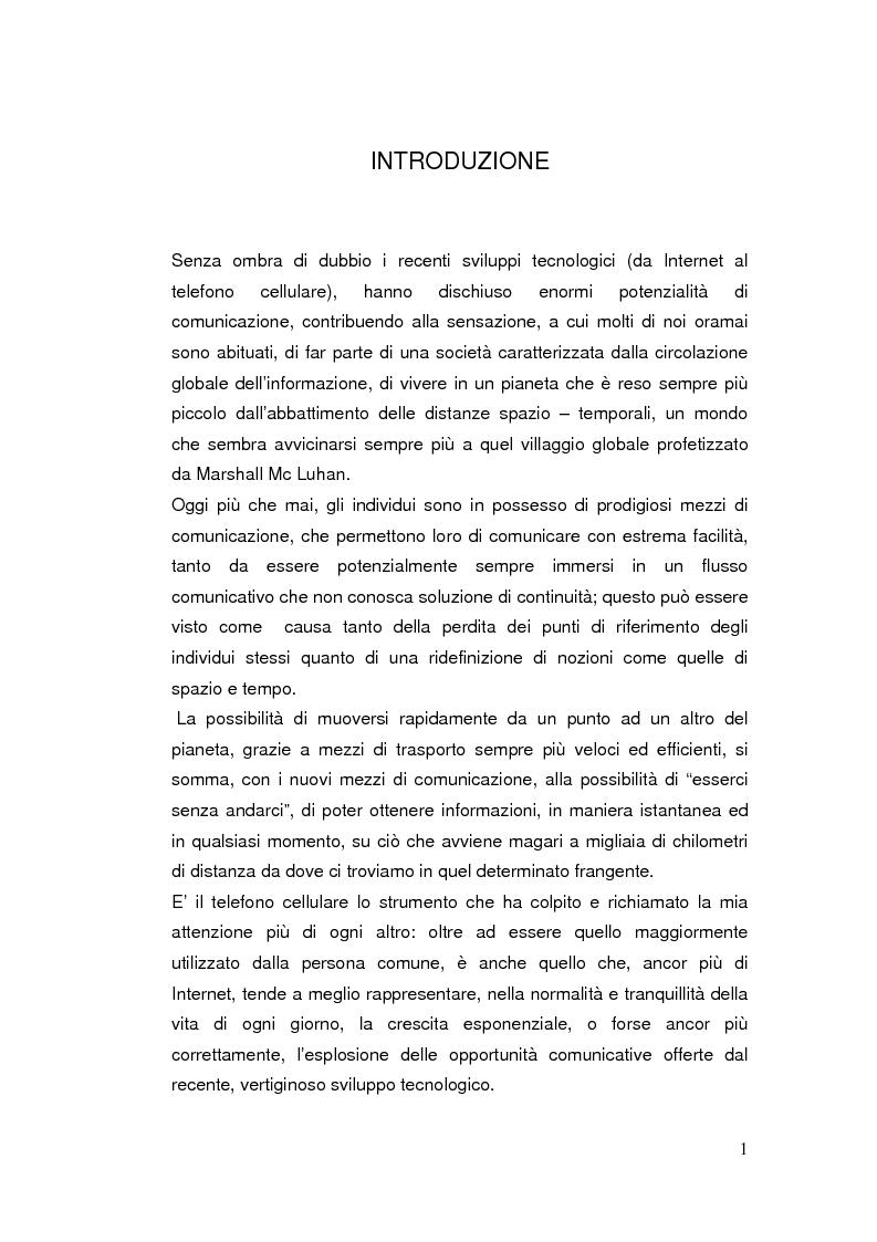 Anteprima della tesi: Telefonia mobile: impatto sociale. Indagine empirico-comparativa sulla percezione e l'uso del telefonino da parte di studenti universitari di Italia e Finlandia, Pagina 1